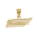 Yellow Gold Tennessee State Map Pendant Necklace