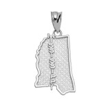 White Gold Mississippi State Map Pendant Necklace