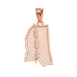 Rose Gold Mississippi State Map Pendant Necklace