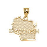Yellow Gold Wisconsin State Map Pendant Necklace