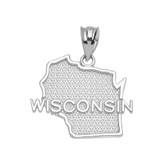 White Gold Wisconsin State Map Pendant Necklace
