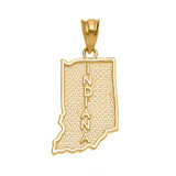 Yellow Gold Indiana State Map Pendant Necklace