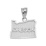 White Gold Oregon State Map Pendant Necklace