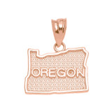 Rose Gold Oregon State Map Pendant Necklace