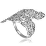 Sterling Silver Diamond Cut Filigree Laurel Wreath Leaf Ring