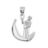White Gold Polished Gondola Pendent Necklace