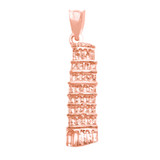 Rose Gold Detailed Leaning Tower Of Pisa Pendant Necklace
