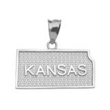 White Gold Kansas State Map Pendant Necklace