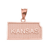 Rose Gold Kansas State Map Pendant Necklace