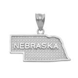 Sterling Silver Nebraska State Map Pendant Necklace