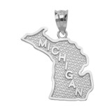 White Gold Michigan State Map Pendant Necklace