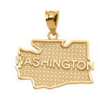 Yellow Gold Washington State Map Pendant Necklace