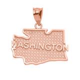 Rose Gold Washington State Map Pendant Necklace