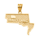 Yellow Gold Maryland State Map Pendant Necklace