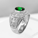 Sterling Silver US Army Men's CZ Birthstone Ring