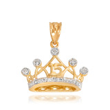 Gold Quince Crown Pendant Necklace