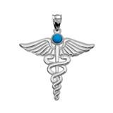 "White Gold Turquoise ""Caduceus""  Medical Pendant Necklace"