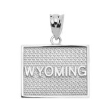 White Gold Wyoming State Map Pendant Necklace