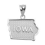 Sterling Silver Iowa State Map Pendant Necklace