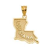 Yellow Gold Louisiana State Map Pendant Necklace
