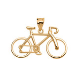 Yellow Gold Bicycle Pendant Necklace