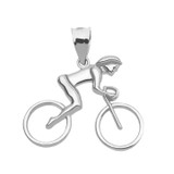 Sterling Silver Woman Cyclist Pendant Necklace