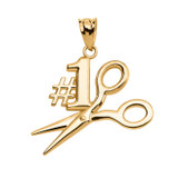 Yellow Gold #1 Hairstylist Pendant Necklace