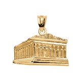 Yellow Gold Parthenon In Acropolis Greece Pendant Necklace