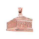 Rose Gold Parthenon In Acropolis Greece Pendant Necklace