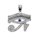 Eye of Horus White Gold Diamond and Sapphire Pendant Necklace