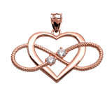 Heart and Infinity Rose Gold and Diamond Rope Design Pendant Necklace