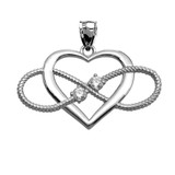 Heart and Infinity White Gold and CZ Rope Design Pendant Necklace