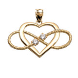 Heart and Infinity Yellow Gold and CZ  Rope Design Pendant Necklace