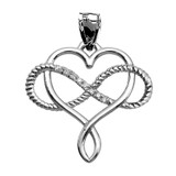 Infinity and Heart Intertwined Diamond White Gold Rope Design Pendant Necklace