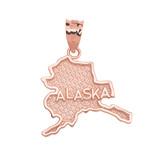 Rose Gold Alaska State Map Pendant Necklace
