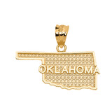 Yellow Gold Oklahoma State Map Pendant Necklace