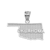 White Gold Oklahoma State Map Pendant Necklace