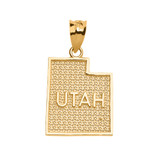 Yellow Gold Utah State Map Pendant Necklace