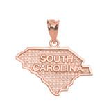 Rose Gold South Carolina State Map Pendant Necklace