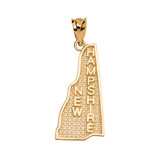 Yellow Gold New Hampshire State Map Pendant Necklace