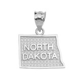 Sterling SIlver North Dakota State Map Pendant Necklace