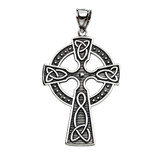 Trinity Knot Celtic Cross Sterling Silver Pendant Necklace