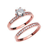 Engagement And Wedding Solitaire Ring Set With 1 Carat White Topaz Center stone In Gold (Yellow/Rose/White)