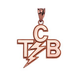 Rose Gold Taking Care of Business In A Flash (TCB) Pendant Necklace