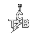 White Gold Taking Care of Business In A Flash (TCB) Pendant Necklace