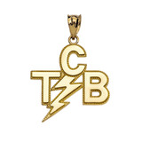 Yellow Gold Taking Care of Business In A Flash (TCB) Pendant Necklace