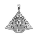 Antique Vintage Style Sterling Silver Egyptian Pyramid King Tut (Tutankhamun) Pendant Necklace