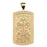 Armenian Cross (Khachkar) Yellow Gold Engraveable Dog Tag Pendant Necklace