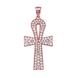 Rose Gold 5 Carat Cubic Zirconia Ankh Cross Pendant Necklace