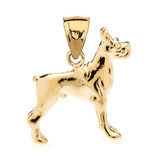 Yellow Gold Boxer Pendant Necklace